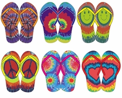 SOLD OUT! Bright Colorful Tie Dye Peace Heart Smiley Rainbow Flip Flop Shoes S