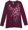 FINAL CLEARANCE SALE! Burgundy Roses With Gold Glittery Plus Size Long Sleeve T-Shirt 1x