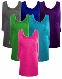 Casual Yet Sexy Solid Colors Drape Neckline Plus-Size Slinky Top 0x 1x 2x 3x 4x 5x 6x 7x 8x 9x