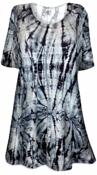 SALE! Charcoal Hurricane Tie Dye Print Plus Size & Supersize Extra Long T-Shirts 0x 1x 2x 3x 4x 5x 6x 7x 8x Customizable!