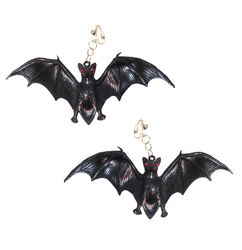 SALE! Extra Large Black Bat Clip On Earrings