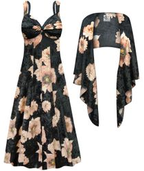 NEW! Customizable 2-Piece Black & Pink Floral CRUSH VELVET Plus Size SuperSize Princess Seam Dress Set 0x 1x 2x 3x 4x 5x 6x 7x 8x