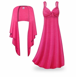 SOLD OUT! NEW! Customizable 2-Piece Pink with Silver Glimmer Plus Size & SuperSize Princess Seam Dress Set Lg XL 0x 1x 2x 3x 4x 5x 6x 7x 8x 9x
