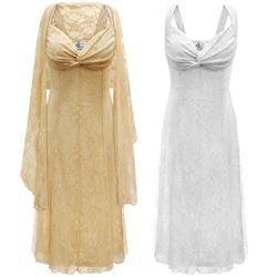 SALE! Customizable 2-Piece White or Tan Lace- Fully Lined Plus Size SuperSize Princess Seam Dress Set 0x 1x 2x 3x 4x 5x 6x 7x 8x