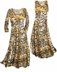 SOLD OUT! SALE! Customizable Black Ornate With Gold Metallic Slinky Print Plus Size & Supersize Short or Long Sleeve Dresses & Tanks - Sizes Lg XL 1x 2x 3x 4x 5x 6x 7x 8x 9x