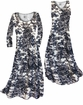 SOLD OUT! Black & White Floral Heirloom Slinky Print Plus Size & Supersize Standard or Cascading A-Line or Princess Cut Dresses & Shirts, Jackets, Pants, Palazzo's or Skirts 1x
