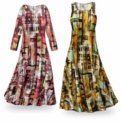 CLEARANCE! Crosshatch Slinky Print Plus Size & Supersize Short Sleeve Dresses 7x TALL