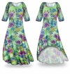 SOLD OUT! SALE! Customizable Flower Illuminations Slinky Print Plus Size & Supersize Short or Long Sleeve Dresses & Tanks - Sizes Lg to 9x