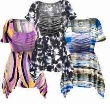 SOLD OUT! Customizable! Gorgeous Colorful Slinky Print Supersize & Plus Size Babydoll Tops 0x 1x 2x 3x 4x 5x 6x 7x 8x
