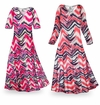 SOLD OUT! SALE! Customizable Groovy Zig Zags Slinky Print Plus Size & Supersize Short or Long Sleeve Dresses & Tanks - Sizes Lg XL 1x 2x 3x 4x 5x 6x 7x 8x 9x