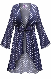 Customizable Navy With White Polka Dots Print Sheer Blouse Swimsuit Coverup Plus Size & Supersize LG XL 0x 1x 2x 3x 4x 5x 6x 7x 8x