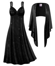 NEW! Customizable Plus Size 2-Piece Black Slinky With Black Glitter Princess Seam Dress Set 0x 1x 2x 3x 4x 5x 6x 7x 8x