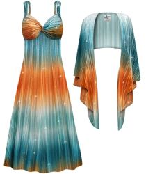 NEW! Customizable Plus Size 2-Piece Glittery Copper & Teal Crinkle Satiny Princess Seam Dress Set 0x 1x 2x 3x 4x 5x 6x 7x 8x