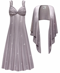 NEW! Customizable Plus Size 2-Piece Lavender Shimmer Slinky Princess Seam Dress Set 0x 1x 2x 3x 4x 5x 6x 7x 8x