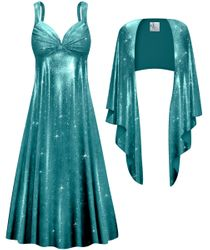 NEW! Customizable Plus Size 2-Piece Teal Spangle Sequin Slinky Princess Seam Dress Set 0x 1x 2x 3x 4x 5x 6x 7x 8x