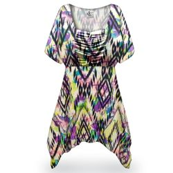 Customizable Plus Size Abstract Aztec Slinky Print Babydoll Top 0x 1x 2x 3x 4x 5x 6x 7x 8x