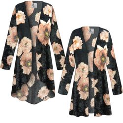 NEW! Customizable Plus Size Black & Pink Floral Crush Velvet Print Jackets & Dusters - Sizes Lg XL 1x 2x 3x 4x 5x 6x 7x 8x 9x