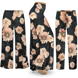 NEW! Customizable Plus Size Black & Pink Floral CRUSH VELVET Print Palazzo Pants - Tapered Pants - Sizes Lg XL 1x 2x 3x 4x 5x 6x 7x 8x 9x