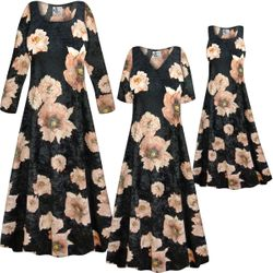 NEW! Customizable Plus Size Black & Pink Floral CRUSH VELVET Print Short or Long Sleeve Dresses & Tanks - Sizes Lg XL 1x 2x 3x 4x 5x 6x 7x 8x 9x