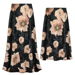 NEW! Customizable Plus Size Black & Pink Floral Crush Velvet Print Skirts - Sizes Lg XL 1x 2x 3x 4x 5x 6x 7x 8x 9x