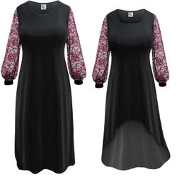 NEW! Customizable Plus Size Black Slinky or Velvet with Pink Lace Sleeves Dresses Sizes Lg XL 0x 1x 2x 3x 4x 5x 6x 7x 8x 9x