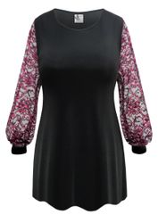 NEW! Customizable Plus Size Black Slinky or Velvet with Pink Lace Sleeves Tops Sizes Lg XL 0x 1x 2x 3x 4x 5x 6x 7x 8x 9x