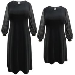 NEW! Customizable Plus Size Black Slinky or Velvet with Sheer Sleeves Dresses Sizes Lg XL 0x 1x 2x 3x 4x 5x 6x 7x 8x 9x