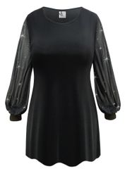 NEW! Customizable Plus Size Black Slinky or Velvet with Sheer Sleeves Tops Sizes Lg XL 0x 1x 2x 3x 4x 5x 6x 7x 8x 9x