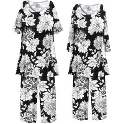 NEW! Customizable Plus Size Black & White Graphic Floral Print 2 Piece Pajama Pant Set 0x 1x 2x 3x 4x 5x 6x 7x 8x 9x