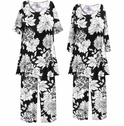 SOLD OUT! Customizable Plus Size Black & White Graphic Floral Print 2 Piece Pajama Pant Set 0x 1x 2x 3x 4x 5x 6x 7x 8x 9x