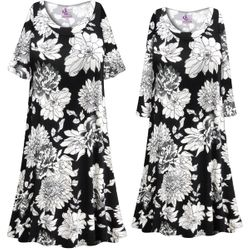 NEW! Customizable Plus Size Black & White Graphic Floral Print Sleep Gown - Muumuu - Moo Moo Dress 0x 1x 2x 3x 4x 5x 6x 7x 8x 9x