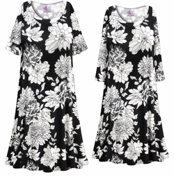 SOLD OUT! Customizable Plus Size Black & White Graphic Floral Print Sleep Gown - Muumuu - Moo Moo Dress 0x 1x 2x 3x 4x 5x 6x 7x 8x 9x