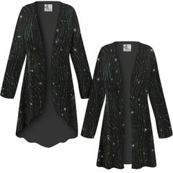 NEW! Customizable Plus Size Black with Teal Glitter Waves Slinky Print Jackets & Dusters - Sizes L XL 1x 2x 3x 4x 5x 6x 7x 8x 9x