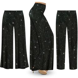 SOLD OUT! Customizable Plus Size Black with Teal Glitter Waves Slinky Print Palazzo Pants - Tapered Pants - Sizes L XL 1x 2x 3x 4x 5x 6x 7x 8x 9x