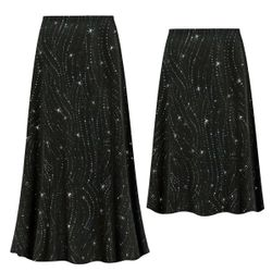 NEW! Customizable Plus Size Black with Teal Glitter Waves Slinky Print Skirts - Sizes L XL 1x 2x 3x 4x 5x 6x 7x 8x 9x