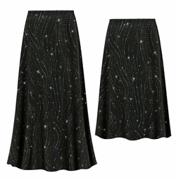 SOLD OUT! Customizable Plus Size Black with Teal Glitter Waves Slinky Print Skirts - Sizes L XL 1x 2x 3x 4x 5x 6x 7x 8x 9x