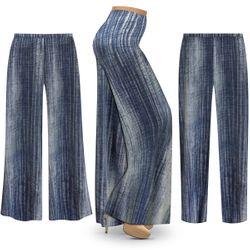 SALE! Customizable Plus Size Blue Denim SLINKY Print Palazzo Pants - Tapered Pants - Sizes L XL 1x 2x 3x 4x 5x 6x 7x 8x 9x