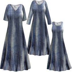 NEW! Customizable Plus Size Blue Denim SLINKY Print Short or Long Sleeve Dresses & Tanks - Sizes L XL 1x 2x 3x 4x 5x 6x 7x 8x 9x