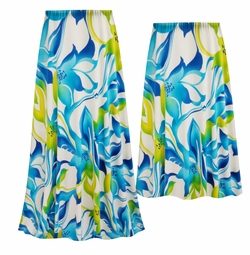 NEW! Customizable Plus Size Blue & Green Floral Slinky Print Skirts - Sizes Lg XL 1x 2x 3x 4x 5x 6x 7x 8x 9x