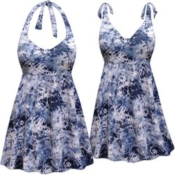 ba7e0247b93d3 NEW! Customizable Plus Size Blue Oceans Print Halter or Shoulder Strap 2pc  Swimsuit/SwimDress