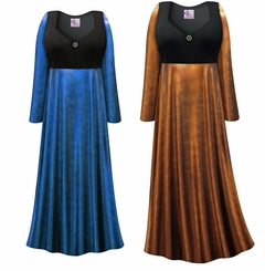 Customizable Plus Size Blue or Copper Metallic Empire Waist Dress With Rhinestone Detail Lg XL 0x 1x 2x 3x 4x 5x 6x 7x 8x