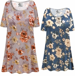 NEW! Customizable Plus Size Blue or Mauve Floral Print Extra Long Soft Rayon Blend T-Shirts 0x 1x 2x 3x 4x 5x 6x 7x 8x 9x