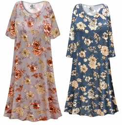 SALE! Customizable Plus Size Blue or Mauve Floral Print Sleep Gown - Muumuu - Moo Moo Dress 0x 1x 2x 3x 4x 5x 6x 7x 8x 9x