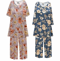 SALE! Customizable Plus Size Blue or Mauve Floral Print Ultra Soft Brushed Poly Blend 2 Piece Pajama Pant Set 0x 1x 2x 3x 4x 5x 6x 7x 8x 9x