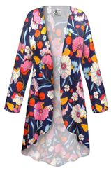 NEW! Customizable Plus Size Blue Poppies Slinky Print Jackets & Dusters - Sizes Lg XL 1x 2x 3x 4x 5x 6x 7x 8x 9x