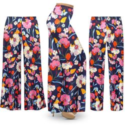 SALE! Customizable Plus Size Blue Poppies Slinky Print Palazzo Pants - Tapered Pants - Sizes Lg XL 1x 2x 3x 4x 5x 6x 7x 8x 9x