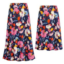 NEW! Customizable Plus Size Blue Poppies Slinky Print Skirts - Sizes Lg XL 1x 2x 3x 4x 5x 6x 7x 8x 9x