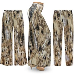 SALE! Customizable Plus Size Brown Snake SLINKY Print Palazzo Pants - Tapered Pants - Sizes L XL 1x 2x 3x 4x 5x 6x 7x 8x 9x