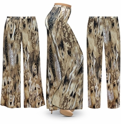 SOLD OUT! Customizable Plus Size Brown Snake SLINKY Print Palazzo Pants - Tapered Pants - Sizes L XL 1x 2x 3x 4x 5x 6x 7x 8x 9x