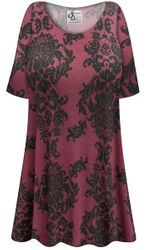 NEW! Customizable Plus Size Burgundy Damask Print Extra Long Poly/Cotton T-Shirts 0x 1x 2x 3x 4x 5x 6x 7x 8x 9x
